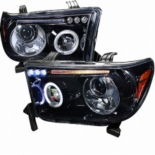 2007-2011 TOYOTA TUNDRA SMOKED LENS GLOSS BLACK HOUSING PROJECTOR HEADLIGHTS (PAIR) (Spec-D Tuning)