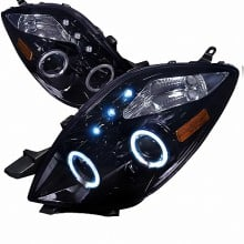 2005-2008 TOYOTA  YARIS  HALO PROJECTOR HEADLIGHTS (PAIR) SMOKED LENS GLOSS BLACK HOUSING 3 DOOR ONLY (Spec-D Tuning)