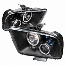 2005-2009 FORD MUSTANG CCFL HALO PROJECTOR HEADLIGHTS (PAIR) BLACK (Spec-D Tuning)