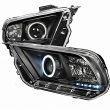 2010-2013 FORD MUSTANG CCFL HALO PROJECTOR HEADLIGHTS (PAIR) BLACK (Spec-D Tuning)
