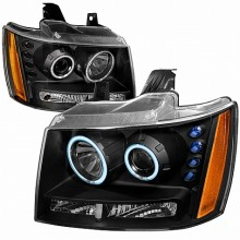 2007-2009 CHEVY AVALANCHE CCFL HALO PROJECTOR HEADLIGHTS (PAIR) BLACK (Spec-D Tuning)
