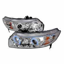 2006-2011 HONDA CIVIC CCFL HALO PROJECTOR HEADLIGHTS (PAIR) CHROME (Spec-D Tuning)