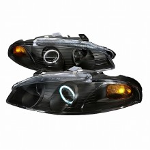 1997-1999 MITSUBISHI ECLIPSE CCFL HALO PROJECTOR HEADLIGHTS (PAIR) BLACK (Spec-D Tuning)