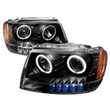 1999-2004 JEEP GRAND CHEROKEE CCFL HALO PROJECTOR HEADLIGHTS (PAIR) BLACK (Spec-D Tuning)