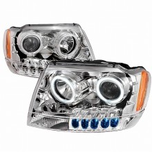 1999-2004 JEEP GRAND CHEROKEE CCFL HALO PROJECTOR HEADLIGHTS (PAIR) CHROME (Spec-D Tuning)