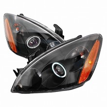 2004-2006 MITSUBISHI LANCER CCFL HALO PROJECTOR HEADLIGHTS (PAIR) BLACK (Spec-D Tuning)