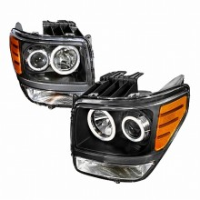 2007-2008 DODGE NITRO CCFL HALO PROJECTOR HEADLIGHTS (PAIR) BLACK (Spec-D Tuning)
