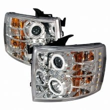 2007-2010 CHEVY SILVERADO CCFL HALO PROJECTOR HEADLIGHTS (PAIR) CHROME (Spec-D Tuning)