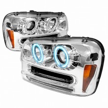 2002-2005 CHEVY TRAILBLAZER CCFL HALO PROJECTOR HEADLIGHTS (PAIR) CHROME (Spec-D Tuning)