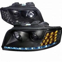 2002-2005 AUDI A6 BLACK HOUSING PROJECTOR HEADLIGHTS (PAIR) WITH LED  (Spec-D Tuning)