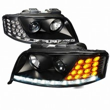 2002-2005 AUDI  A6  PROJECTOR HEADLIGHTS (PAIR) BLACK HOUSING ONLY COMPATIBLE WITH FACTORY XENON MODEL, WITH ADJUSTABLE MOTOR (Spec-D Tuning)