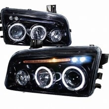 2005-2010 DODGE  CHARGER  PROJECTOR HEADLIGHTS (PAIR) GLOSS BLACK HOUSING SMOKE LENS  (Spec-D Tuning)