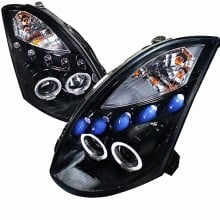 2003-2005 INFINITI G35  PROJECTOR HEADLIGHTS (PAIR) GLOSS BLACK HOUSING SMOKE LENS COMPATIBLE WITH FACTORY HID  (Spec-D Tuning)