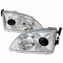 1994-1998 FORD MUSTANG PROJECTOR HEADLIGHTS (PAIR) CHROME   (Spec-D Tuning)