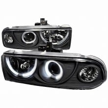 1998-2004 CHEVY S10 DUAL HALO PROJECTOR HEADLIGHTS (PAIR) BLACK  (Spec-D Tuning)