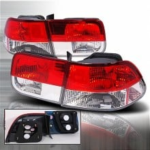 1996-2000 HONDA CIVIC ALTEZZA TAIL LIGHTS (PAIR) RED CLEAR 2DR (Spec-D Tuning)