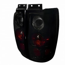 1997-2002 FORD  EXPEDITION EURO TAIL LIGHTS (PAIR) GLOSSY BLACK HOUSING WITH SMOKE LENS  (Spec-D Tuning)
