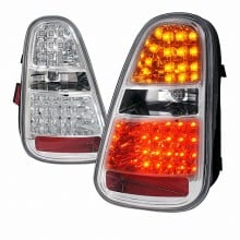 2005-2006 MINI COOPER  LED TAIL LIGHTS (PAIR) CHROME HOUSING (Spec-D Tuning)