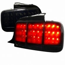 2005-2009 FORD MUSTANG  LED TAIL LIGHTS (PAIR) GLOSSY BLACK HOUSING WITH SMOKE LENS (Spec-D Tuning)