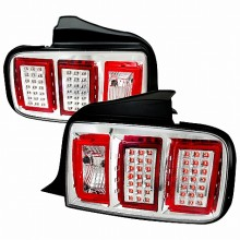 2005-2009 FORD MUSTANG LED TAIL LIGHTS (PAIR) CHROME (Spec-D Tuning)