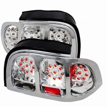 1994-1998 FORD MUSTANG LED TAIL LIGHTS (PAIR) CHROME (Spec-D Tuning)