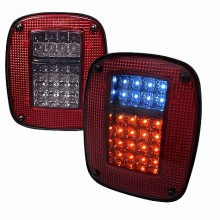 1987-2006 JEEP WRANGLER LED TAIL LIGHTS (PAIR) RED SMOKE (Spec-D Tuning)