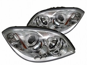 2005-2010 Chevy Cobalt Projector HeadLights (PAIR) - LED Halo - LED ( Replaceable LEDs ) - Chrome - High H1 (Included) - Low H1 (Included) (Spyder Auto)