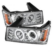 2004-2012 Chevy Colorado Projector HeadLights (PAIR) - Halogen Model Only ( Not Compatible With Xenon/HID Model ) - CCFL Halo - Chrome - High H1 (Included) - Low H1 (Included) (Spyder Auto)
