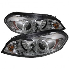 2006-2013 Chevy Impala - Projector HeadLights (PAIR) - LED Halo - LED ( Replaceable LEDs ) - Chrome - High H1 (Included) - Low H1 (Included) (Spyder Auto)