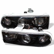 1998-2004 Chevy S10 Projector HeadLights (PAIR) - LED Halo - Black - High 9005 (Not Included) - Low H1 (Included) (Spyder Auto)