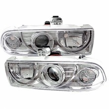 1998-2004 Chevy S10 Projector HeadLights (PAIR) - LED Halo - Chrome - High 9005 (Not Included) - Low H1 (Included) (Spyder Auto)