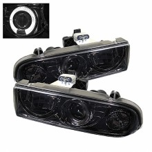 1998-2004 Chevy S10 Projector HeadLights (PAIR) - LED Halo - Smoke - High 9005 (Not Included) - Low H1 (Included) (Spyder Auto)