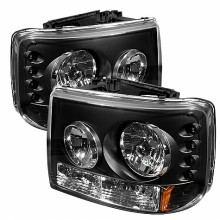 1999-2002 Chevy Silverado 1500/2500 1PC W/ Bumper Lights (PAIR) ( Require GRI-SP-CS99-CT Grille ) LED ( Replaceable LEDs ) Crystal Headlights - Black (Spyder Auto)