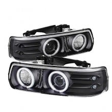 1999-2002 Chevy Silverado 1500/2500 Projector HeadLights (PAIR) - CCFL Halo - LED ( Replaceable LEDs ) - Black - High 9005 (Not Included) - Low H1 (Included) (Spyder Auto)
