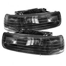 1999-2002 Chevy Silverado 1500/2500 Amber Crystal HeadLights (PAIR) - Black (Spyder Auto)