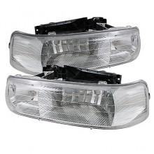 1999-2002 Chevy Silverado 1500/2500 Amber Crystal HeadLights (PAIR) - Chrome (Spyder Auto)