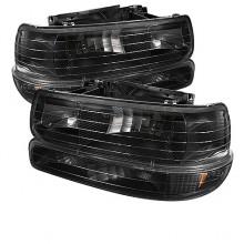 1999-2002 Chevy Silverado 1500/2500 Amber Crystal Headlights With Bumper Lights (PAIR) - Black (Spyder Auto)