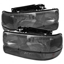 1999-2002 Chevy Silverado 1500/2500 Amber Crystal Headlights With Bumper Lights (PAIR) - Smoke (Spyder Auto)