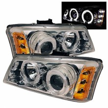 2003-2006 Chevy Silverado 1500/2500/3500 Projector HeadLights (PAIR) - LED Halo - LED ( Replaceable LEDs ) - Amber Reflector - Chrome - High H1 (Included) - Low H1 (Included) (Spyder Auto)