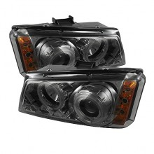 2003-2006 Chevy Silverado 1500/2500/3500 Projector HeadLights (PAIR) - CCFL Halo - LED ( Replaceable LEDs ) - Smoke - High H1 (Included) - Low H1 (Included) (Spyder Auto)