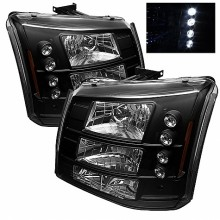 2003-2006 Chevy Silverado 1500/2500/3500 1PC W/ Bumper Lights (PAIR) ( Require GRI-SP-CS03-CT Grille ) LED ( Replaceable LEDs ) Crystal Headlights - Black (Spyder Auto)