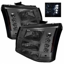 2003-2006 Chevy Silverado 1500/2500/3500 1PC W/ Bumper Lights (PAIR) ( Require GRI-SP-CS03-CT Grille ) LED ( Replaceable LEDs ) Crystal Headlights - Smoke (Spyder Auto)