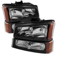 2003-2006 Chevy Silverado 1500/2500/3500 Crystal Headlights W/ Bumper Lights (PAIR) - Black (Spyder Auto)