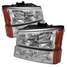 2003-2006 Chevy Silverado 1500/2500/3500 Crystal Headlights W/ Bumper Lights (PAIR) - Chrome (Spyder Auto)