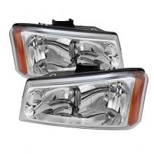 2003-2006 Chevy Silverado 1500/2500/3500 Crystal HeadLights (PAIR) - Chrome (Spyder Auto)