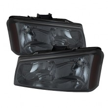 2003-2006 Chevy Silverado 1500/2500/3500 Crystal HeadLights (PAIR) - Smoke (Spyder Auto)