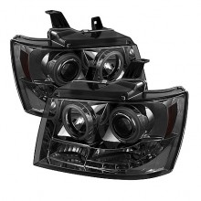 2007-2013 Chevy Suburban 1500/2500 Projector HeadLights (PAIR) - CCFL Halo - LED ( Replaceable LEDs ) - Smoke - High H1 (Included) - Low H1 (Included) (Spyder Auto)