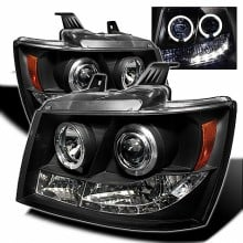2007-2013 Chevy Suburban 1500/2500 Projector HeadLights (PAIR) - LED Halo - LED ( Replaceable LEDs ) - Black - High H1 (Included) - Low H1 (Included) (Spyder Auto)