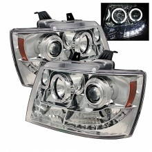 2007-2013 Chevy Suburban 1500/2500 Projector HeadLights (PAIR) - LED Halo - LED ( Replaceable LEDs ) - Chrome - High H1 (Included) - Low H1 (Included) (Spyder Auto)