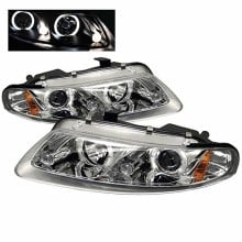 1997-2000 Dodge Avenger 2Dr Projector HeadLights (PAIR) - LED Halo - LED ( Replaceable LEDs ) - Chrome - High H1 (Included) - Low H1 (Included) (Spyder Auto)